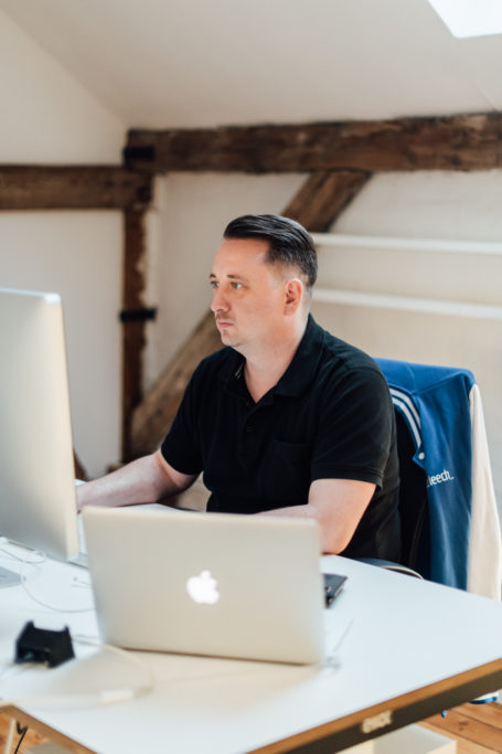 Developer at desk